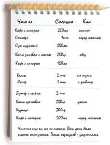 Как вести дневник питания пример